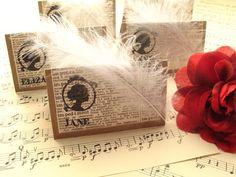 jane austen silhouette placecards by NostalgiaAtHighTea on Etsy, $16.00
