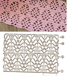 Crochet Stitches Chart, Crochet Symbols, Crochet Diagram, Filet Crochet, Crochet Blanket Patterns, Crochet Motif, Crochet Designs, Crochet Lace, Stitch Patterns