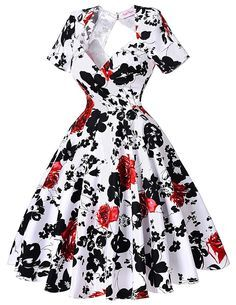 Short Sleeve Floral Print 50s Vintage Dresses Retro Swing Pinup Dance Dress Plus Size Rockabilly Dress BP000028 Alternative Measures