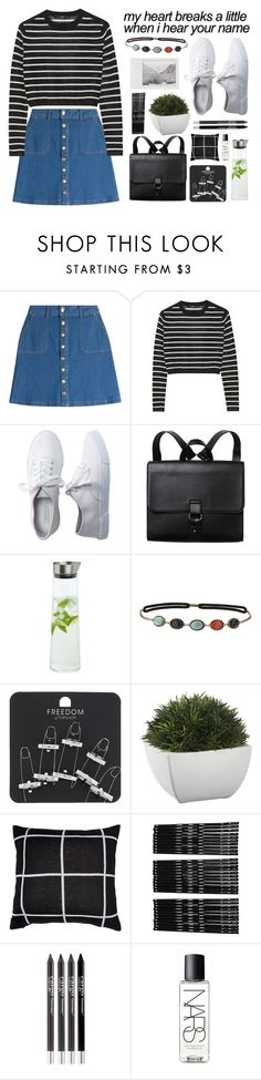 """""""The torture of small talk with someone you used to love"""" by angeline-wonderwall ❤ liked on Polyvore featuring HUGO, TIBI, Aéropostale, Monki, blomus, Topshop, Crate and Barrel, CARGO, Polaroid and NARS Cosmetics"""