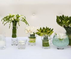 Various green and white blooms are placed in differing vases filled with water and light blue stones.