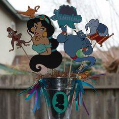 Disney's Princess Jasmine party centerpiece by ladybugkarla Jasmin Party, Princess Jasmine Party, Princess Theme Party, Disney Princess Party, Baby Shower Princess, Princess Birthday, Aladdin Birthday Party, Aladdin Party, 5th Birthday Party Ideas