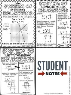 Awesome Student friendly systems of equations notes for Graphing Systems Of Inequalities Worksheet Algebra Activities, Maths Algebra, Math Math, Teacher Worksheets, Algebra Projects, Math Classroom, Math Games, Classroom Ideas, Systems Of Equations
