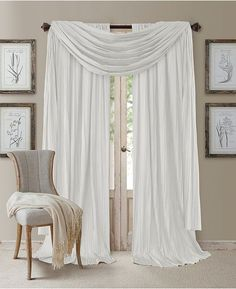 The crinkled silk-like panels and valance of the Athena collection by Elrene Home Fashions add dramatic flair to any room. Each set comes with two panels and a beautiful long length scarf valance to complete the look. Faux Silk Curtains, Drapes Curtains, Curtain Panels, Window Panels, Curtains Living, Scarf Valance, Window Scarf, Casual Decor, Thing 1