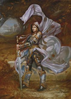 Elspeth Tirrel, another MtG Planeswalker.  See again the practical armor.  She's pretty, but she's no stick figure...I'm pretty sure she can actually HEFT that sword.  Art by Volkan Baga.