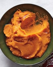 Often the most favorite holiday side dishes are the simplest. This recipe combines roasted sweet potatoes with butter and maple syrup in the food processor with very little effort.