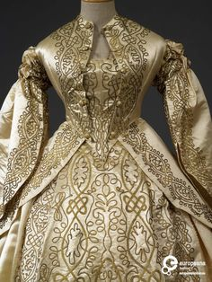 Embroidered silk wedding gown, ca. 1862, possibly English. | In the Swan's Shadow