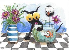 ACEO Original watercolor painting whimsical Stressie black cat bird fish flower #IllustrationArt
