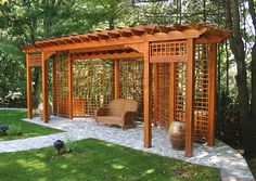 Pergola with Privacy Lattice - This attractive pergola, a long, narrow structure, establishes a focal point for the landscape. Designed to provide privacy and a place for quite reflection, this latticed pergola was the perfect solution for our client, whose concept we help realize by working in conjunction with her contractor through 3D computer models.
