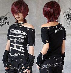 Cool fashion punk rock skull print unisex tee shirt top on Wanelo