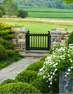 garden gate, stone pillars