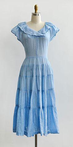 vintage 1940s sky blue polka dot button back dress