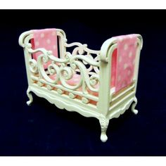Dolls House Fine Miniature Nursery Furniture Shabby Chic White Wooden Cot Crib