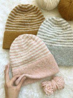 Beanie Knitting Patterns Free, Loom Knitting, Knitting Stitches, Knit Patterns, Free Knitting, Knit Beanie Pattern, Double Knitting Patterns, Lion Brand Yarn Studio, Motifs Beanie