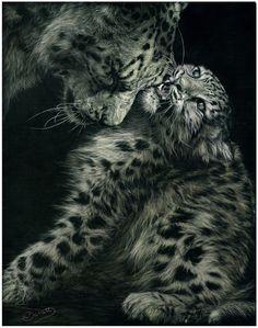 """A Mothers Love"".  Scratchboard Art"