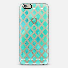 Mint Green Watercolor Diamond Pattern Transparent Case | @casetify