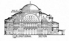 Hagia Sophia: section Architecture Panel, Islamic Architecture, Classical Architecture, Architecture Details, Ste Sophie, Hagia Sophia, 19th Century London, Byzantine Art, Early Christian