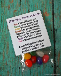 "I made these adorable Jelly Bean Prayer Free Printable for the boys to hand out at PSR and preschool.   I thought they turned out so cute that I made some for any of YOU that might like to print some off! These are sized to be used on the 3"" x 4"" little baggies!  I …"