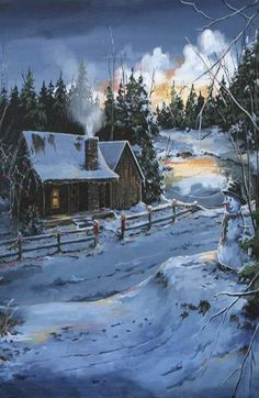 Cabin In The Snow Painting