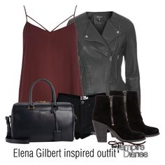 """Elena Gilbert inspired outfit/TVD"" by tvdsarahmichele ❤ liked on Polyvore featuring Topshop, River Island, Boohoo, Yves Saint Laurent and Jessica Simpson"