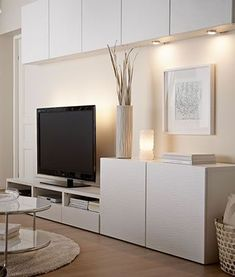 home ikea Mercan BESTA TV Unit More Rattan Furniture and Your Home Article Body: Rattan Furniture an Home Tv Stand, Ikea Tv Stand, New Living Room, Home And Living, Tv Ikea, Tv Cabinet Design, Discount Bedroom Furniture, Tv Wall Decor, Tv Unit