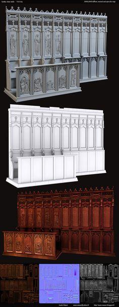 Gothic choir stalls asset by amaterasu111