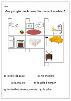 HOUSE/ROOMS FRENCH WorksheetTeaching Resources by YippeeLearning