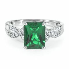 Radiant Cut Lab-Created Emerald Ring in Sterling Silver - Gifts Under $100 - Mothers Day Gifts - Gift Guide - Helzberg Diamonds