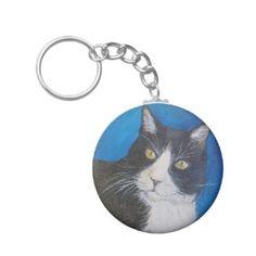 Tuxedo Cat Painting Key Chain