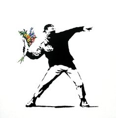 Checkout our amazing Banksy 'Flower Thrower' wallpaper mural. Create a graffiti street art inspired interior with this cool Banksy wall mural. Banksy Graffiti, Street Art Banksy, Bansky, Banksy Prints, Banksy Stencil, Last Minute Halloween Costumes, Political Art, Poster Prints, Art Prints