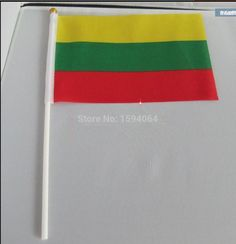 Flag of Lithuania, Lithuania hand flag, hand wave flags of Lithuania 14 * 21CM Office / Parade / Festival / home decoration
