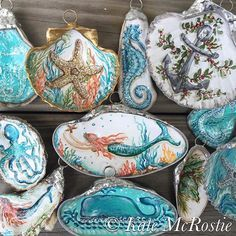 Seashell Painting, Seashell Art, Seashell Crafts, Beach Crafts, Oyster Shell Crafts, Oyster Shells, Sea Shells, Nautical Christmas, Beach Christmas