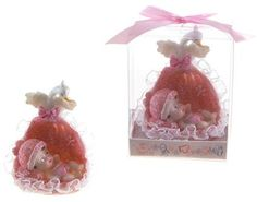 Baby Laying in Basket with Swan Poly Resin - Pink Case Pack 48