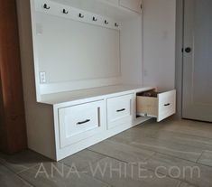 ana white The easiest way to build a mudroom bench with drawers. Free plans by Mudroom Cabinets, Entryway Cabinet, Entryway Decor, Entryway Ideas, Entryway Closet, Plywood Cabinets, Hall Closet, Entrance Decor, House Entrance