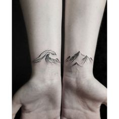 Geometric mountain tattoo ❤ liked on Polyvore featuring accessories and body art