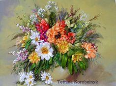 Ricamo   Il vaso con i fiori   Silk ribbon