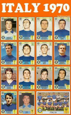 Italy team stickers for the 1970 World Cup Finals. Football Stickers, Football Cards, Football Soccer, Baseball Cards, 1970 World Cup, Fifa World Cup, Italy Team, Italy Soccer, Soccer Pictures