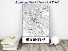 New Orleans Map Art Print, New Orleans LA Art Poster, New Orleans Wall Art, Map of New Orleans, Gift, Print, Birthday, Decor, Modern, Art