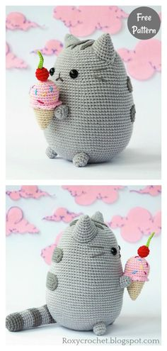Amigurumi Pusheen with Ice Cream Free Crochet Pattern Crochet Cat Pattern, Crochet Animal Patterns, Stuffed Animal Patterns, Amigurumi Patterns, Free Crochet, Knit Crochet, Crochet Crafts, Crochet Dolls, Yarn Projects