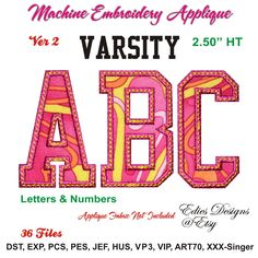 NEW Varsity APPLIQUE Machine Embroidery Letters & Numbers! Available at https://www.etsy.com/shop/EdiesDesigns