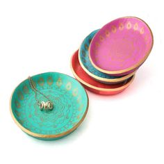 Colourful Mandala Ring Dish | Jewellery Holder | Jewellery Storage Solutions at Lottie Of London Jewellery