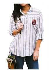 Gameday Couture The Ohio State University Womens White I'll Be Back Dress Shirt