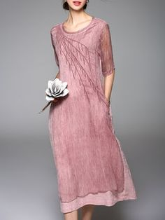 Pink Vintage Plain Crew Neck Embroidered Midi Dress - love the color, fabric, draping - creative! Look Fashion, Unique Fashion, Vintage Fashion, Vintage Style, Vintage Midi Dresses, Linen Dresses, Modest Fashion, Fashion Dresses, Casual Formal Dresses
