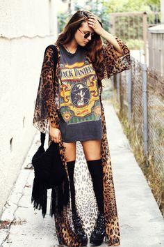 Maxi cheetah kimono