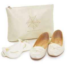 Charlotte Olympia Cat Nap Slipper Set (39,715 INR) ❤ liked on Polyvore featuring shoes and slippers