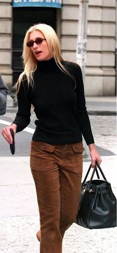 Carolyn Bessette Kennedy. Warning: brown bootcut cords are ADVANCED level only.