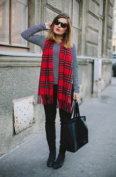 striped top / plaid scarf / black bottoms + boots