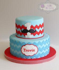 - Chevron mustache cake