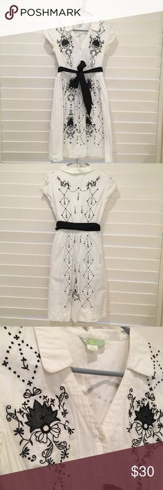 Anthropologie dress Anthropologie white collared dress with black embroidered details. Anthropologie Dresses Midi