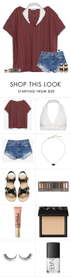 """• • •"" by maggie-prep ❤ liked on Polyvore featuring Zara, Free People, Kendra Scott, A.P.C., Urban Decay, Too Faced Cosmetics and NARS Cosmetics"